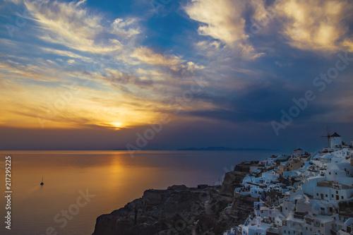 Canvas Zee zonsondergang Sunset view on Santorini