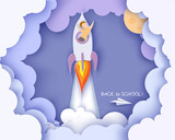 Back to school 1 september card. Children flying on rocket. Paper cut style. Vector illustration