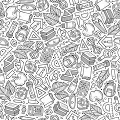 Cartoon hand-drawn Back to School seamless pattern