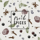 Pattern with spices and emblem - fresh spices - 217314896