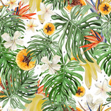 Beautiful watercolor tropical pattern with flowers of hibiscus and strelitzia. Tropical fruits papaya and bananas. - 217316613