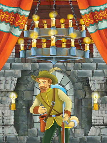 cartoon scene with beautiful boy - prince - in castle room - illustration for children - 217316623