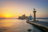 Entrance to Port of Rhodes at first sunlight - Greece.