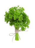 parsley bunch tied with ribbon isolated on white background. Top view/ - 217328240
