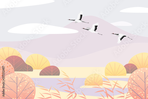 Simple Autumn  Lanscape with Flying Japanese Cranes - 217332487
