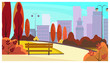 City park walkway with autumn trees, bushes, benches, lanterns and skyscrapers in background. Cityscape, recreation area. Flat style vector illustration. For brochures, wallpapers, posters or banners. - 217334025