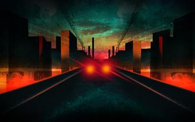 Night city, neon light. © MiaStendal