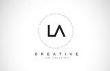 LA L A Logo Design with Black and White Creative Text Letter Vector. - 217345869