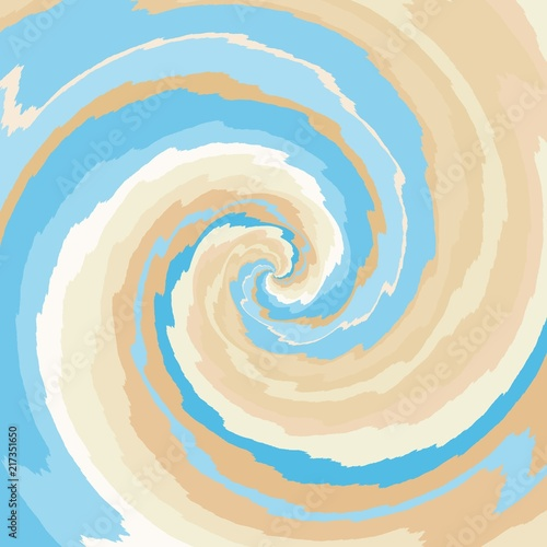 Abstract spiral background in blue, tan, ocher and pale brown - 217351650