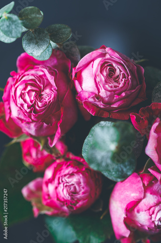 Macro Photography Of Dark Pink Roses Bouquet Over Blue Soft Focus
