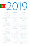 Calendar 2019 - illustration. Portuguese version - 217359618