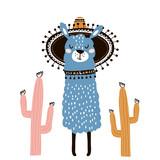 Cute cartoon llama with in tribal style. Childish print for nursery, kids apparel,poster, postcard. Vector Illustration - 217360613