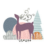 Creative forest print with abstract deer and floral elemnts. Vector modern woodland vector illustration - 217360641