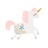 Magic unicorn childish illustration. Stay unique text with fairy pony.Vector Illustration. Perfect for baby and kids design,t-shirt prints,nursery decoration,poster,cards - 217360653