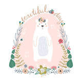 Cute cartoon bear in floral wreath. Beautiful day quote. Childish print for nursery, kids apparel,poster, postcard. Vector Illustration - 217360668