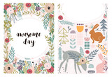 Set of greeting cards with cute animal and forest elements in pastel colors. Floral postcard, invitation and children s party. Vector Illustration - 217360685