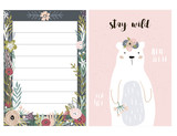 Set of greeting cards with cute animal and forest elements in pastel colors. Floral postcard, invitation and children s party. Vector Illustration - 217360686
