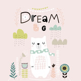 Dream Big lettering. Cute cartoon bear in scarf with clouds and lowers in scandinavian style. Childish print for nursery, kids apparel,poster, postcard. Vector Illustration - 217360811