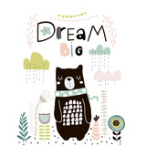Dream Big lettering. Cute cartoon bear in scarf with clouds and lowers in scandinavian style. Childish print for nursery, kids apparel,poster, postcard. Vector Illustration - 217360816