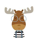 Cute cartoon elk boy character. Childish print for nursery, kids apparel,poster, postcard. Vector Illustration - 217360831