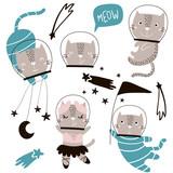 Circus cats astronauts vector clipart. Cute cartoon characters - 217360832