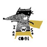 Cute hand drawn with ink wolf hero. Cartoon super hero bear vector illustration in scandinavian style - 217360846