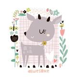 Cute cartoon deer in floral frame in scandinavian style. Childish print for nursery, kids apparel,poster, postcard. Vector Illustration - 217360853