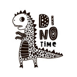 Cute hand drawn dino with lettering. Cartoon super hero bear vector illustration in scandinavian style. Black and white vector apparel print - 217360871