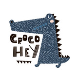 Cute cartoon crocodile print. Childish print for nursery, kids apparel,poster, postcard. Vector Illustration - 217360879