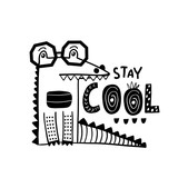 Cute hand drawn crocodile in glasses in black and white style. Cartoon alligator vector illustration in scandinavian style - 217360893