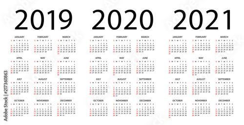 Calendar 2019 2020 2021 - illustration. Week starts on Sunday