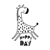 Cute hand drawn giraffe in black and white style. Cartoon vector illustration in scandinavian style - 217361013