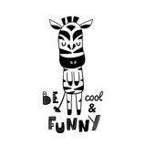 Cute hand drawn zebra in black and white style. Cartoon vector illustration in scandinavian style - 217361014