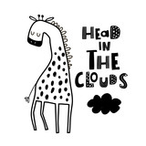 Cute hand drawn giraffe in black and white style. Cartoon vector illustration in scandinavian style - 217361043