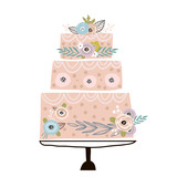 Floral cake with unusual flowers and branches on white background. It can be used for web banner,invitation,cards,apparel,home decor,fabric.Vector Illustration - 217361059