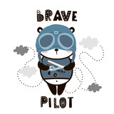 Brave pilot cute panda. Cartoon baby panda . Childish print for nursery, kids apparel,poster, postcard. Vector Illustration - 217361064