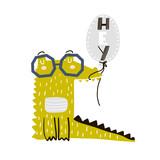 Cute cartoon crocodile with balloon. Childish print for nursery, kids apparel,poster, postcard. Vector Illustration - 217361202