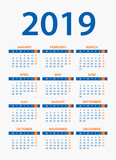 Calendar 2019 - illustration. Week starts on Monday - 217361409