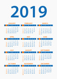 Calendar 2019 - illustration. Week starts on Sunday - 217361439