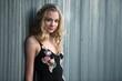 Blond Teen Girl Wearing Black Maxi Dress