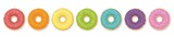 Donuts. Rainbow colored set of seven donuts. Isolated vector illustration on white background. - 217369488