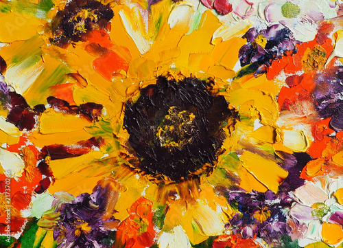 Abstract oil painting background with fantasy colourful flowers. Sunflowers. Oil on canvas texture. Hand painted. Modern art. © shvets_tetiana