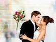 Leinwandbild Motiv Happy just married young couple on black