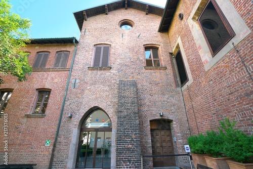 Plexiglas Milan Milan,Italy-July 24,2018: Exit of Abbey(Cenacolo Vinciano), where The Last Supper is displayed, of Chiesa di Santa Maria delle Grazie, Milan