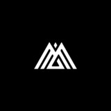 Creative unique modern M black and white color initial based icon logo. - 217377060