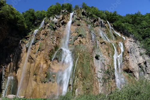 Waterfall at the plitvice lakes Croatia - 217383824