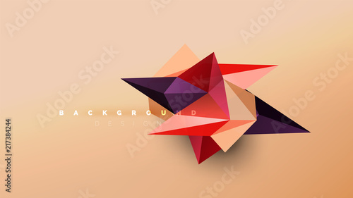 Abstract background - geometric origami style shape composition, triangular low poly design concept. Colorful trendy minimalistic illustration