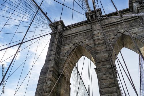 Aluminium New York Brooklyn Bridge on a sunny day