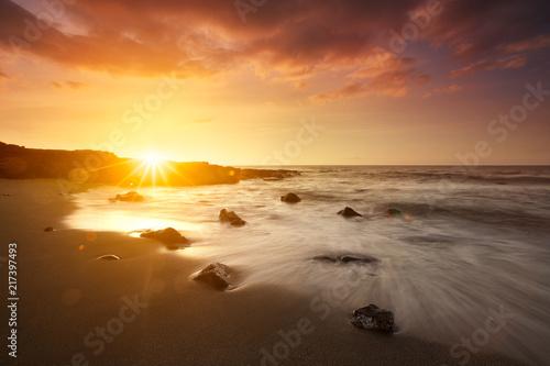 Crépuscule sur les plages de La Réunion.