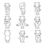 Halloween Character Big Head Poses Devil Businessman Coloring Book - 217410447